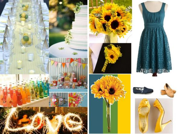 Late Summer Wedding Inspiration Board wedding summer sunflowers sparklers