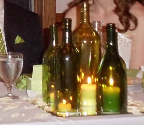 My DIY Wine Bottle Centerpieces :  wedding diy green reception wine bottle centerpiece Centerpiece