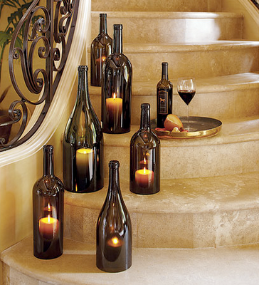 Gorgeous wine bottle candles wedding decoration.