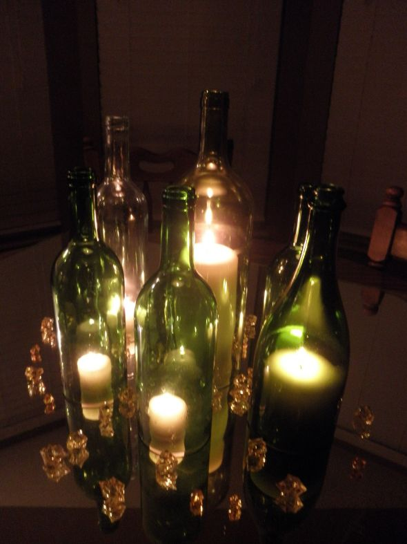 my diy wine bottle centerpieces weddingbee photo gallery. Black Bedroom Furniture Sets. Home Design Ideas