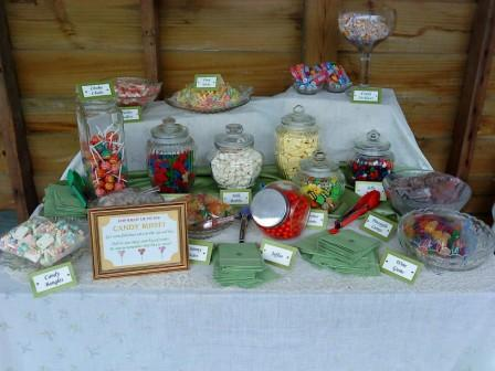Our theme was a DIY backyard wedding and i really wanted a candy buffet