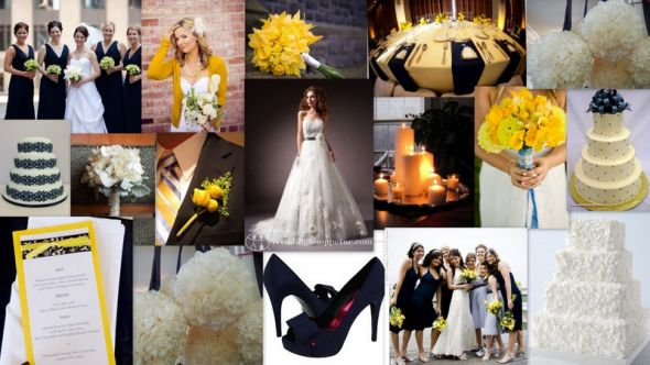 Navy/yellow/ivory wedding