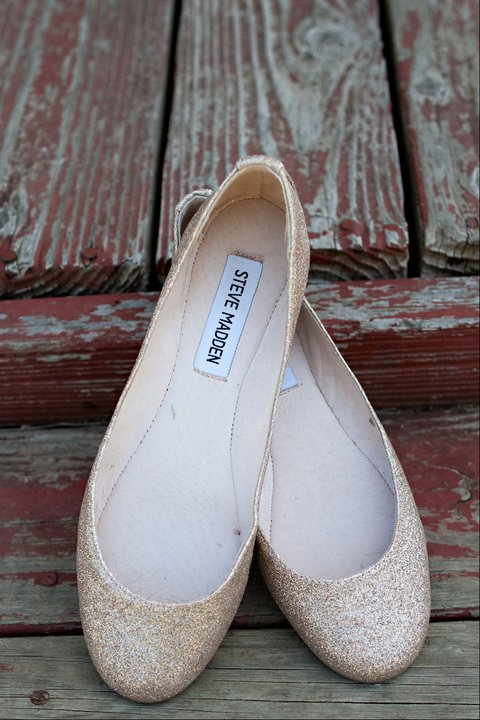 Wedding Flats :  wedding gold ivory shoes Wedding Shoes