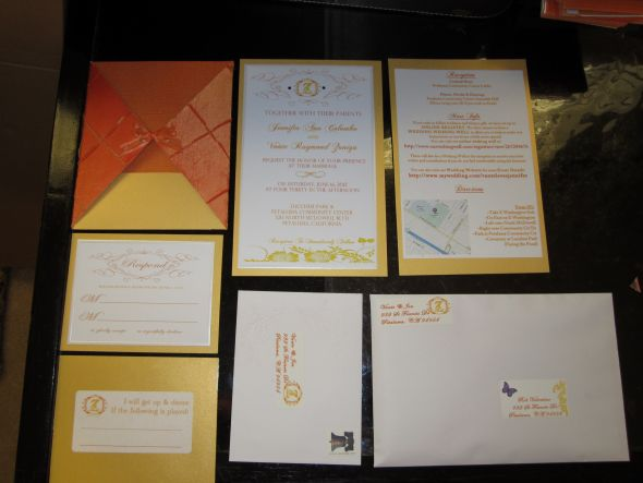 Finished Invites pic Heavy wedding invitations gold orange purple yellow