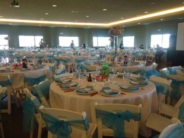 362 Aqua Blue Organza Sashes 1 Each Shipping Napkins And Silver Wedding