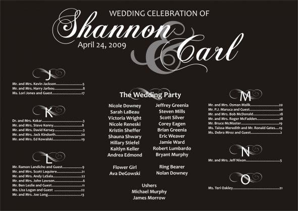 Seating Chart wedding custom
