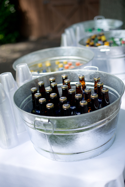 Galvanized tubs...perfect for the Outdoor Wedding! :  wedding drink tubs outdoor wedding reception silver  DSC7130