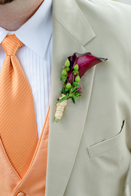 wedding groom lily plum orange green tan suit purple ceremony flowers