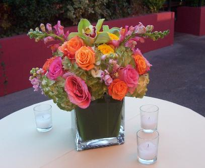 Orange pink and or yellow or sunset theme centerpieces - Red and yellow centerpieces ...
