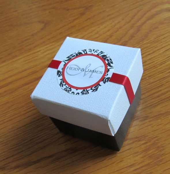 Damask candy box favors :  wedding black damask diy favor box reception red white Favor Box