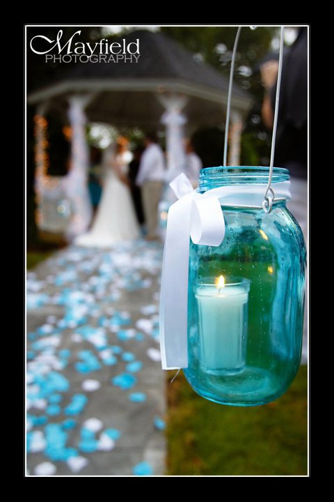 approximately 20 jars at 5 each Post wedding sale Aqua Mason Jars