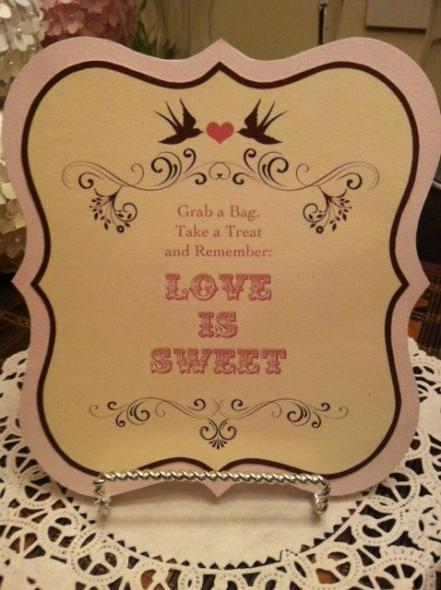 Candy Buffet Sign wedding brown pink ivory diy Candy Buffet Sign