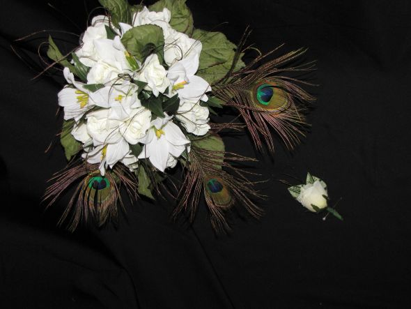 Wedding Bouquet White Flowers with Peacock Feathers wedding flowers