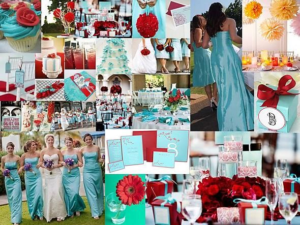 Does this look like 4th of July wedding red turquoise inspiration board