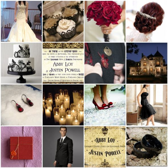 Vintage Romance wedding inspiration board black gold red ivory inspiration