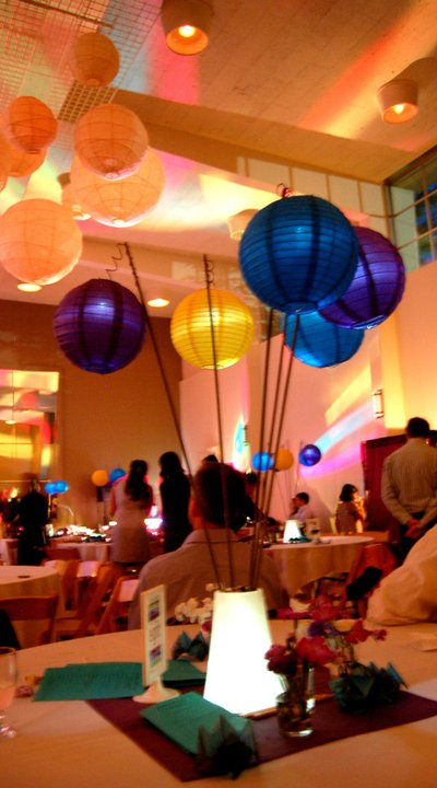 Paper lantern centerpieces and misc Purple yellow and turquoise Seattle