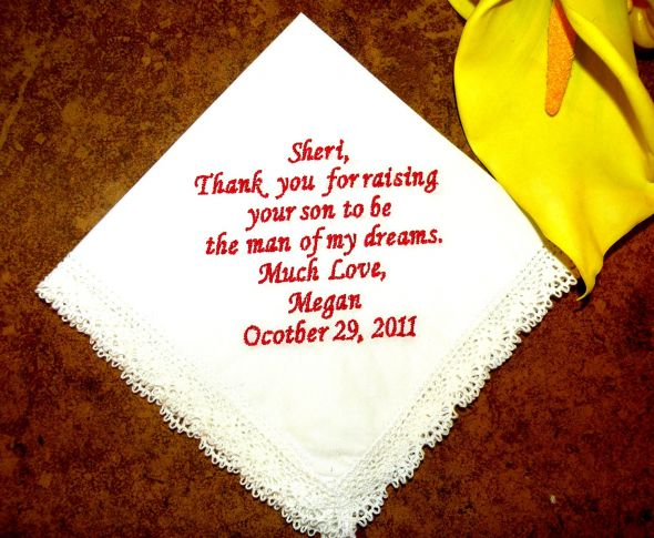 Personalized wedding handkerchiefs make a great wedding gift for the bride