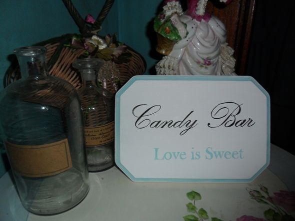 Hand Painted Candy Bar Sign Vintage Garden wedding handpainted sign shabby
