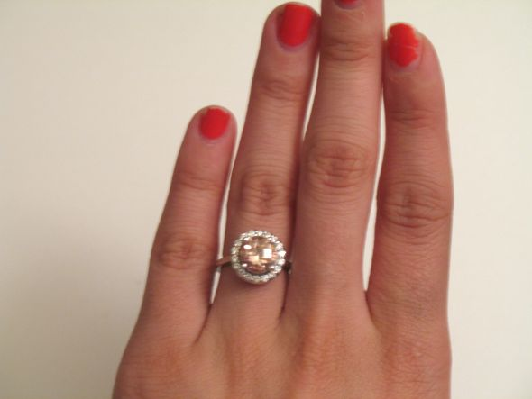 Morganite and Moissanite Halo Ring wedding moissanite halo morganite ring