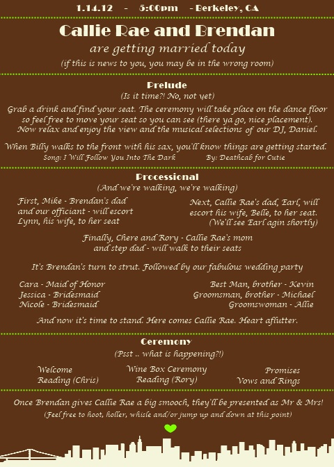 Bay Area Wedding Program Spellcheck Please wedding sf san francisco bay