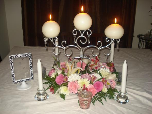 Our Sample Centerpiece OPINIONS PLEASE :  wedding candles centerpiece flowers inspiration ivory pink reception silver 046