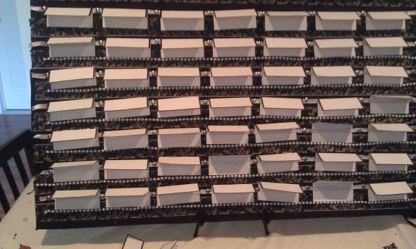 DIY Escort Seating Board wedding table escort cards black white silver