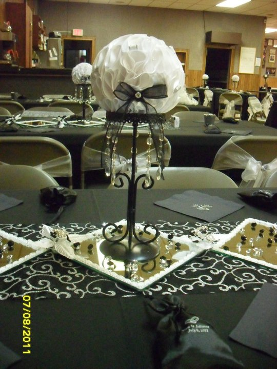 BLACK WHITE SILVER KISSING BALL CENTERPIECES WITH GEMS BEADS wedding