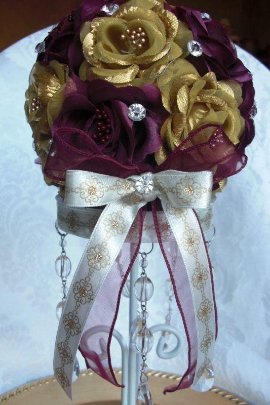 Stunning Gold Burgundy Pomander Gem Centerpieces wedding centerpieces