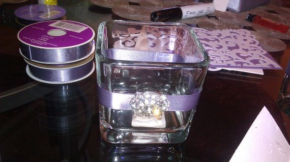blinged out dollar tree candle holde