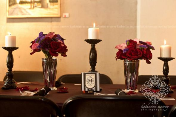 Head Table decor,bridesmaids bouquets double as table decor:) :  wedding black bouquet bridesmaids callas carnations ceremony diy eggplant flowers green inspiration julep larkspur lisianthus pillar candles pink purple reception red roses silver stripes white 15