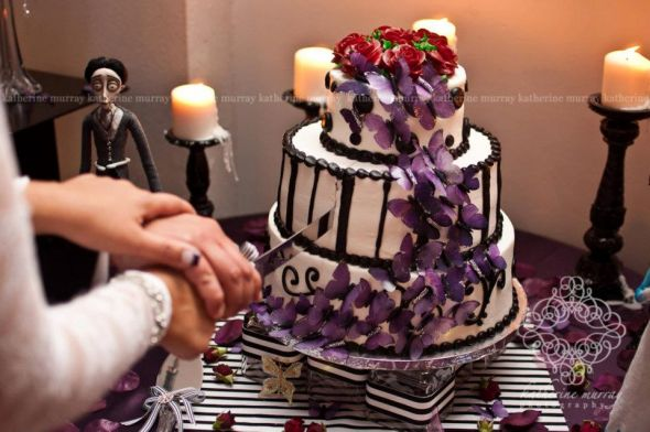 Tim Burton cake Corpse Bride wedding