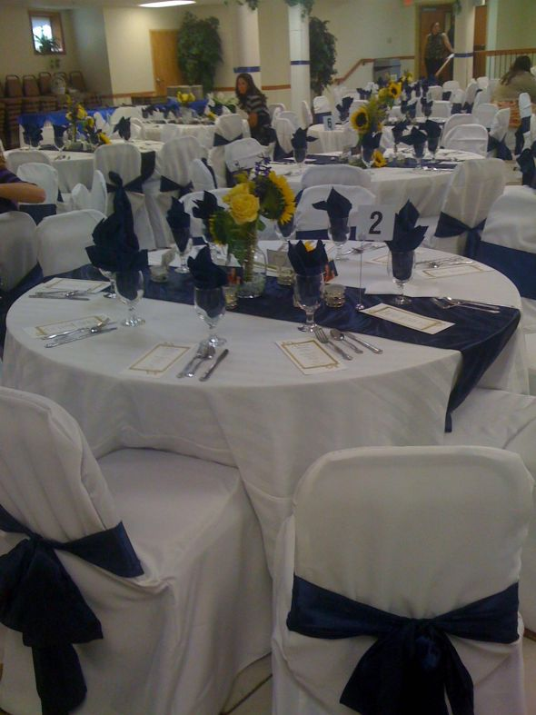 Reception for Navy Blue Gold Wedding wedding navy blue Table