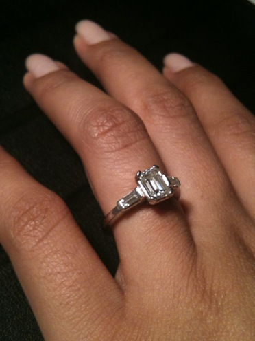 Show us your wedding band for emerald cut engagement ring