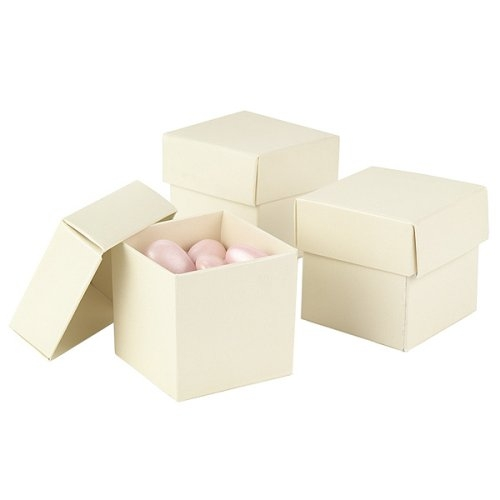75 2x2 2 piece Ivory Linen Favor Boxes wedding ivory bridesmaids diy