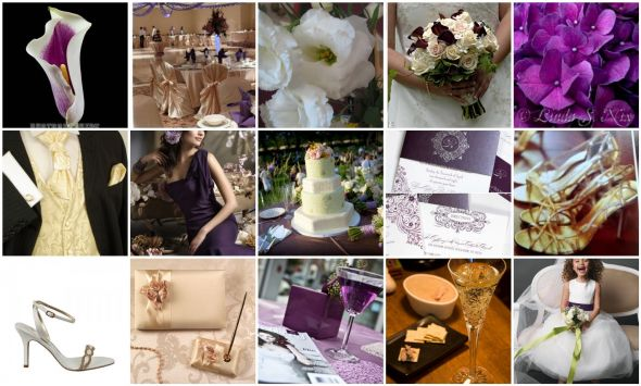 Purple Ivory and gold accents wedding eggplant ivory gold MY FIRST BOARD