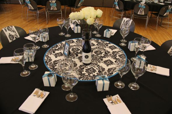 Damask Turq Black and White wedding black white ceremony flowers