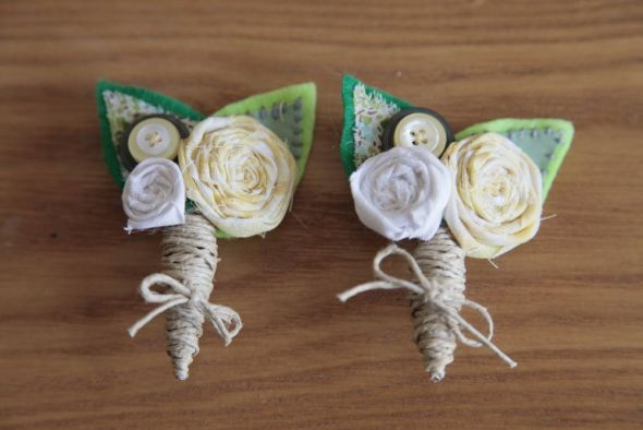 I made my own Boutonnieres :  wedding boutonnieres ceremony diy flowers green ivory silver white yellow Dads