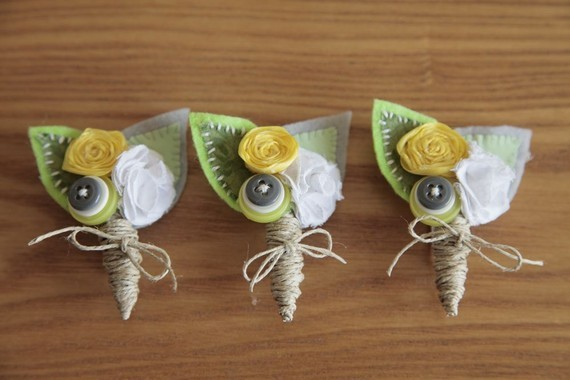 I made my own Boutonnieres :  wedding boutonnieres ceremony diy flowers green ivory silver white yellow Il 570xN.236266399
