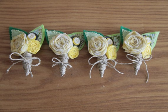 I made my own Boutonnieres :  wedding boutonnieres ceremony diy flowers green ivory silver white yellow Il 570xN.236417747