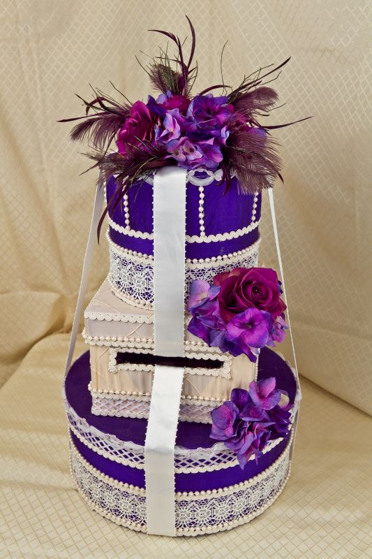 PURPLE AND IVORY WEDDING CARD BOX wedding wedding card box card box money