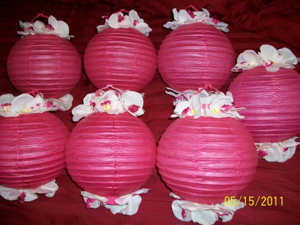 7 HOT PINK AND WHITE ORCHID LED CHINESE LANTERNS wedding chinese lanterns