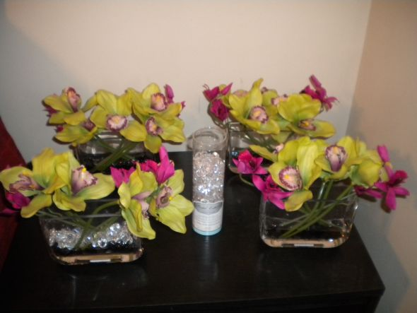 Orchid faux real touch centerpieces wedding orchids pink hot pink green