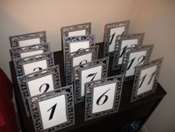 Table Numbers in silver frame Presale wedding table numbers white