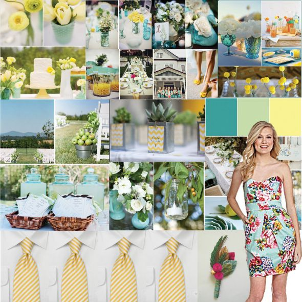 Is My Wedding TOOO Colorful wedding turquoise yellow mason jar country