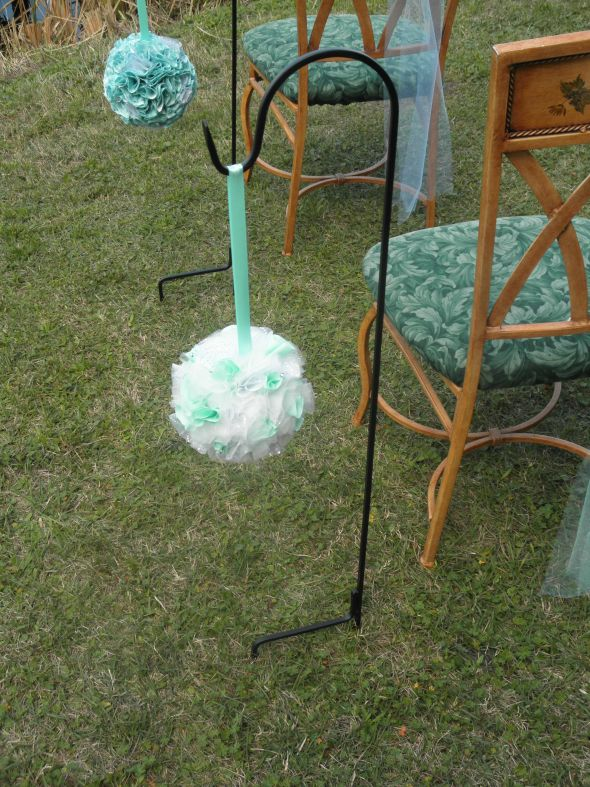 sale wedding kissing balls pomanders poms tiffany blue centerpieces