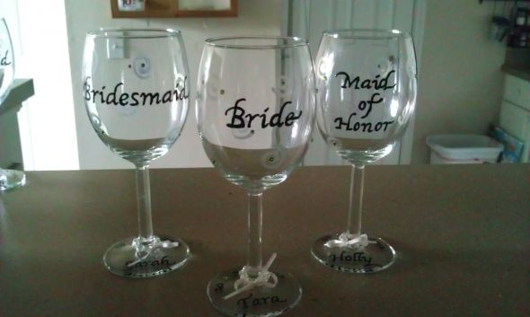 Bridal party wine glasses weddingbee photo gallery for Do it yourself wine glasses