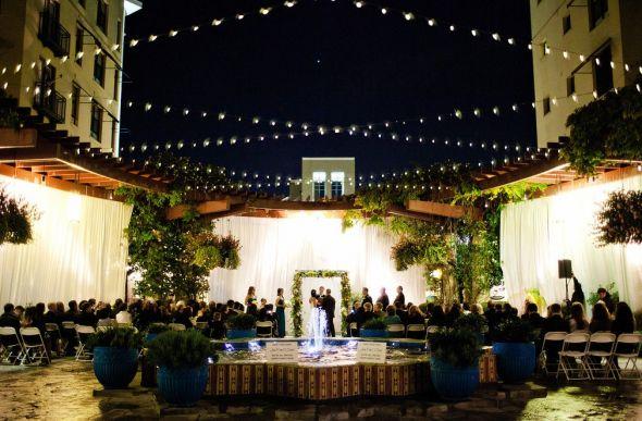 Outdoor Ceremony wedding outdoor rain fountain drapery ceremony pasadena