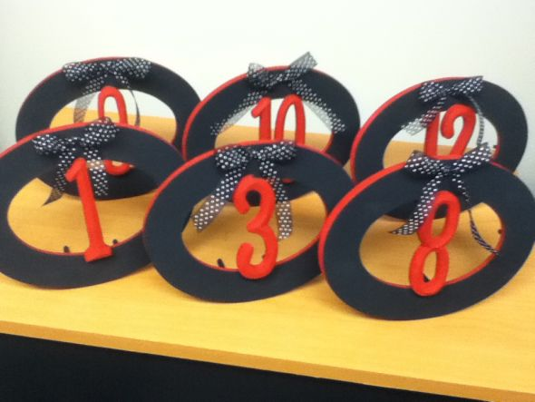 Hand Painted Black Red Wooden Table Numbers Wedding Reception wedding