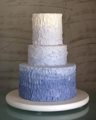blue ombre destination wedding beach wedding cake