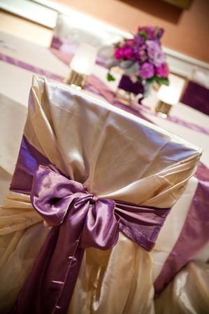 Champage eggplant and lavender wedding linens wedding reception linens